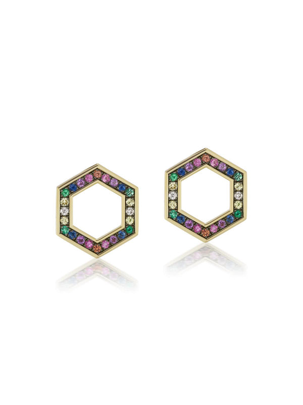 Rainbow Sapphire Hexagon Stud Earrings-Harwell Godfrey-Tucci Boutique