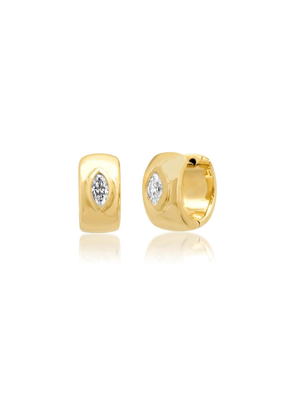 14K Yellow Gold Marquise Diamond Gypsy Huggies