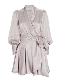 Silk Wrap Mini Dress - Lavender-Zimmermann-Tucci Boutique