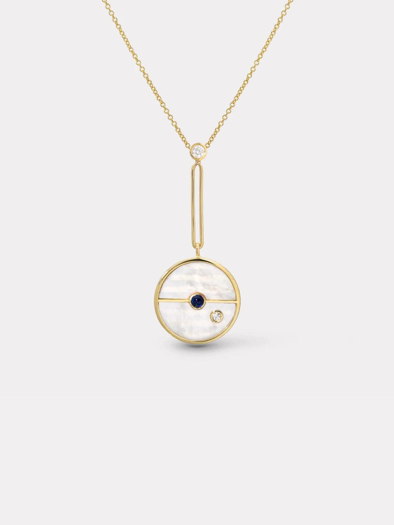 Signature Compass Pendant - White Mother of Pearl & Blue Sapphire-Retrouvai-Tucci Boutique