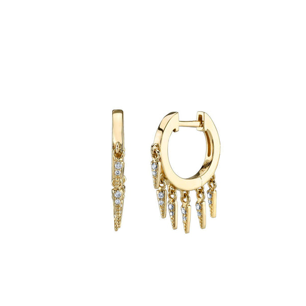 Diamond & Fringe Huggie Hoops-Sydney Evan-Tucci Boutique