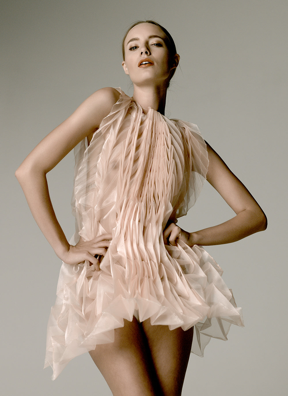 Unfolded Dress / Silk Peach