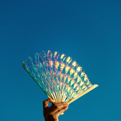Unfolded Hand Fan | Holographic