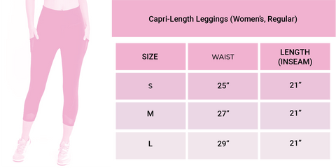 Limeberry Designs Legging Capri Size Chart Guide