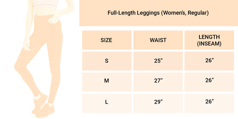Limeberry Designs Full Length Legging Size Guide Chart