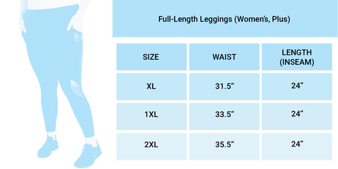 Limeberry Designs Extended Sizes Size Chart Leggings