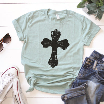Distressed Cross Tee - Limeberry Designs