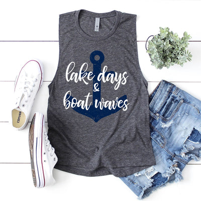 Lake Days & Boat Waves Muscle Tank