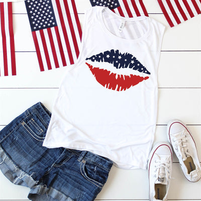 Red White And Blue Lips Tank - Limeberry Designs