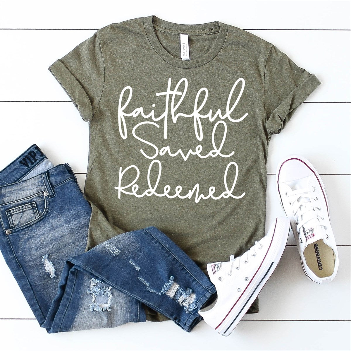 Faithful Saved Redeemed Tee - Limeberry Designs