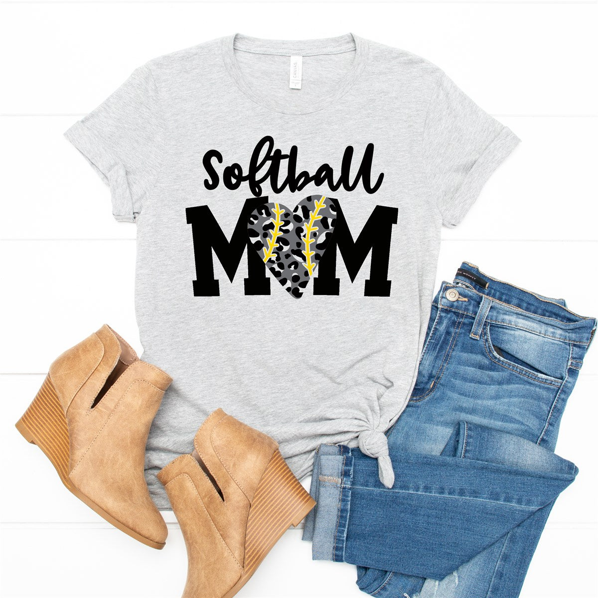 Leopard Heart Softball Mom Tee - Limeberry Designs