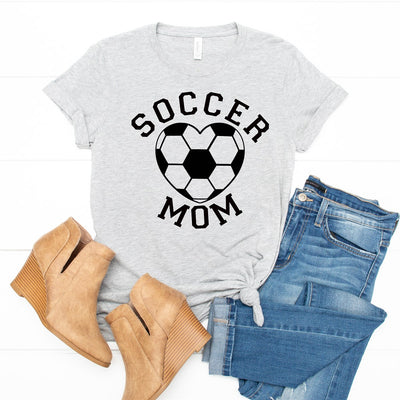 Heart Soccer Mom Tee - Limeberry Designs