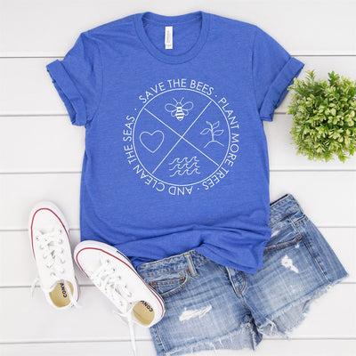 Save The Bees Trees Seas Tee - Limeberry Designs