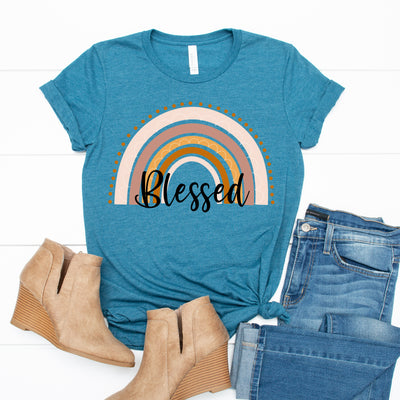 Blessed Rainbow Tee - Limeberry Designs