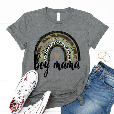 Boy Mama Camo Rainbow Tee - Limeberry Designs
