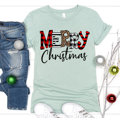 Leopard And Plaid Merry Christmas Tee