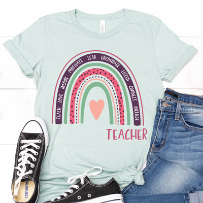 Teacher Rainbow Tee