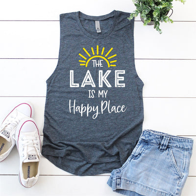 Lake Is My Happy Place Muscle Tank - Limeberry Designs