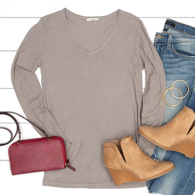 Essential V-Neck Long Sleeve Tee