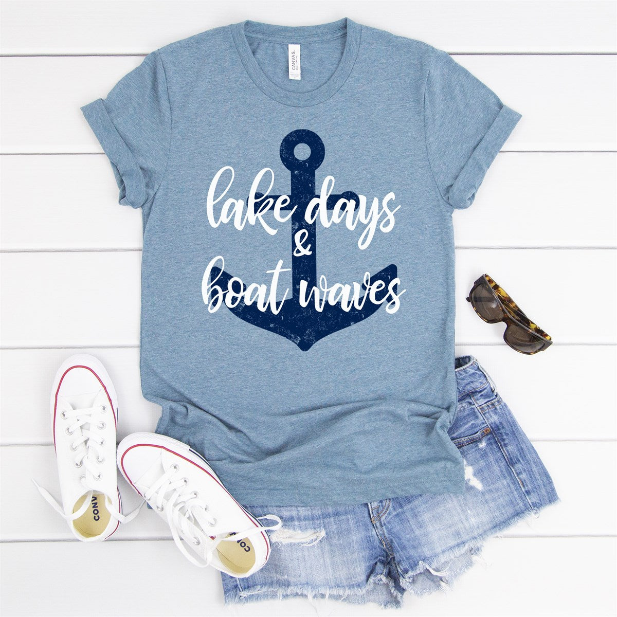 Lake Days Boat Waves Tee