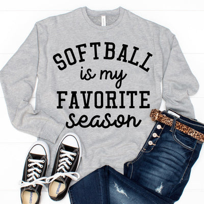 Favorite Season Sweatshirt - Softball - Limeberry Designs