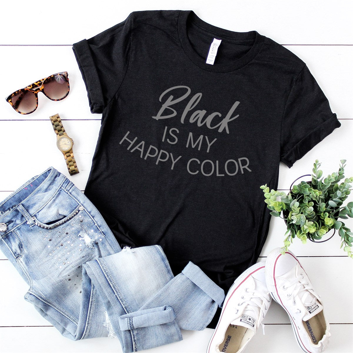 Black Is My Happy Color Tee - Limeberry Designs