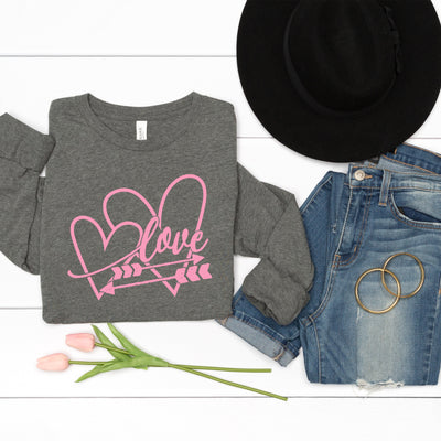 Double Heart Pink Long Sleeve Tee