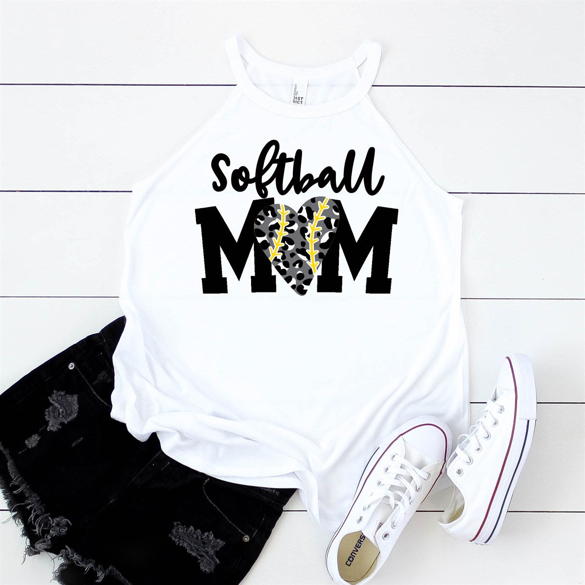 Leopard Heart Softball Mom Tank - Limeberry Designs