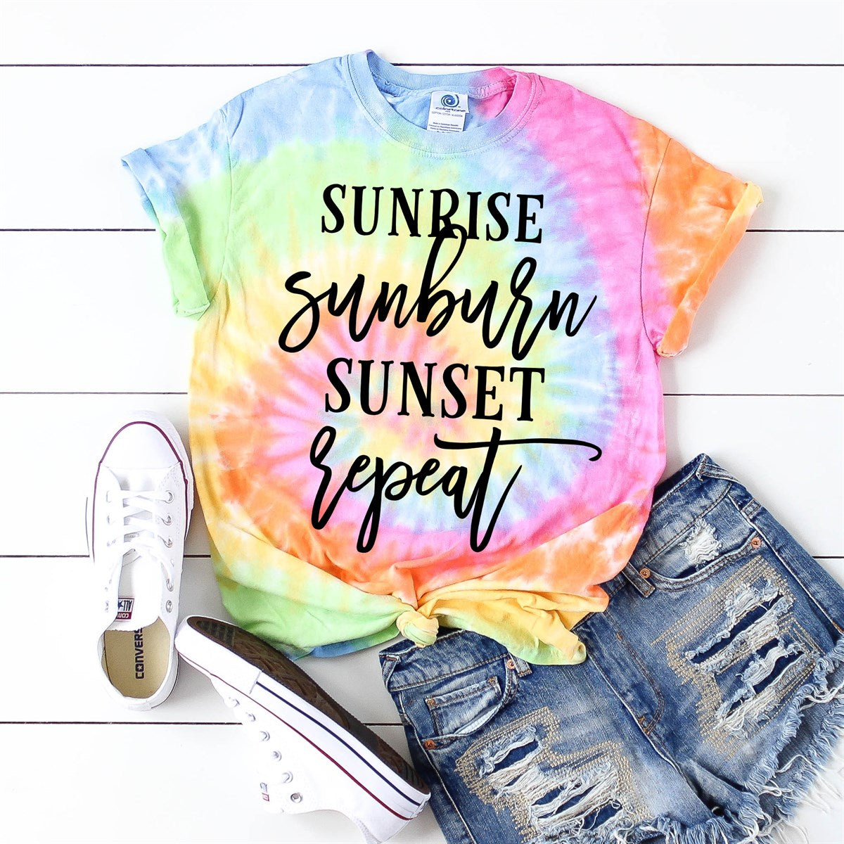 Sunrise Sunburn Sunset Tie Dye Tee