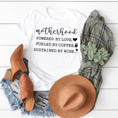 Motherhood Coffee & Wine Tee - Limeberry Designs