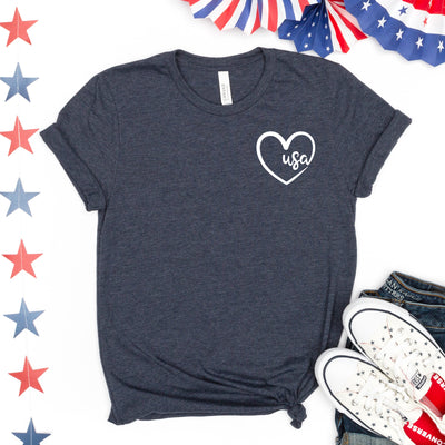 USA Heart Pocket Tee - Limeberry Designs