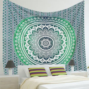 Image of Mandala Wall Tapestry Cool Design Green and White
