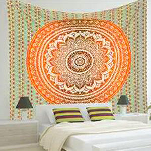 Image of Mandala Wall Tapestry Orange and White Cool Design