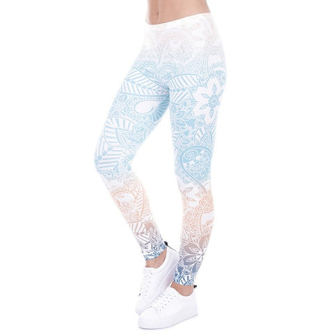 White Rainbow High Waist Yoga Pants Side Front With Woman Wearing It