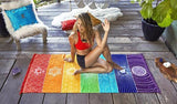 Image of Mandala Wall Tapestry Cool Design Rainbow Pattern for Yoga with Woman Sitting On Tapestry