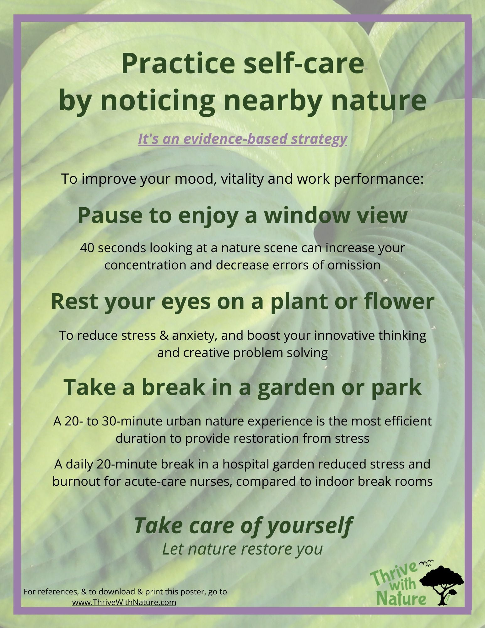 Poster: Practice self-care by noticing nearby nature. It's an evidence-based strategy for healthcare professionals and others