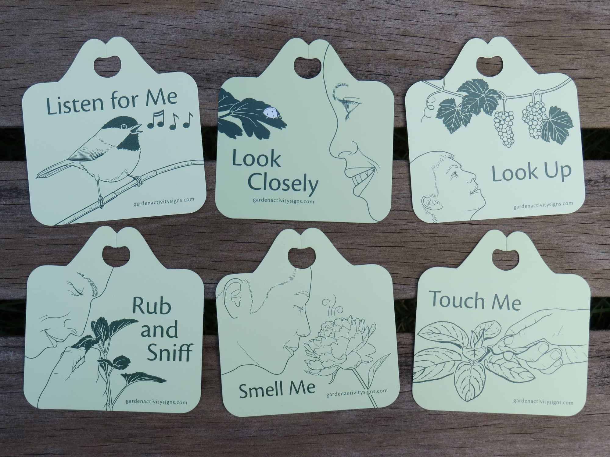 Sensory garden illustrated plant tags, set of 6 includes listen for me, look closely, look up, rub and sniff, smell me and touch me