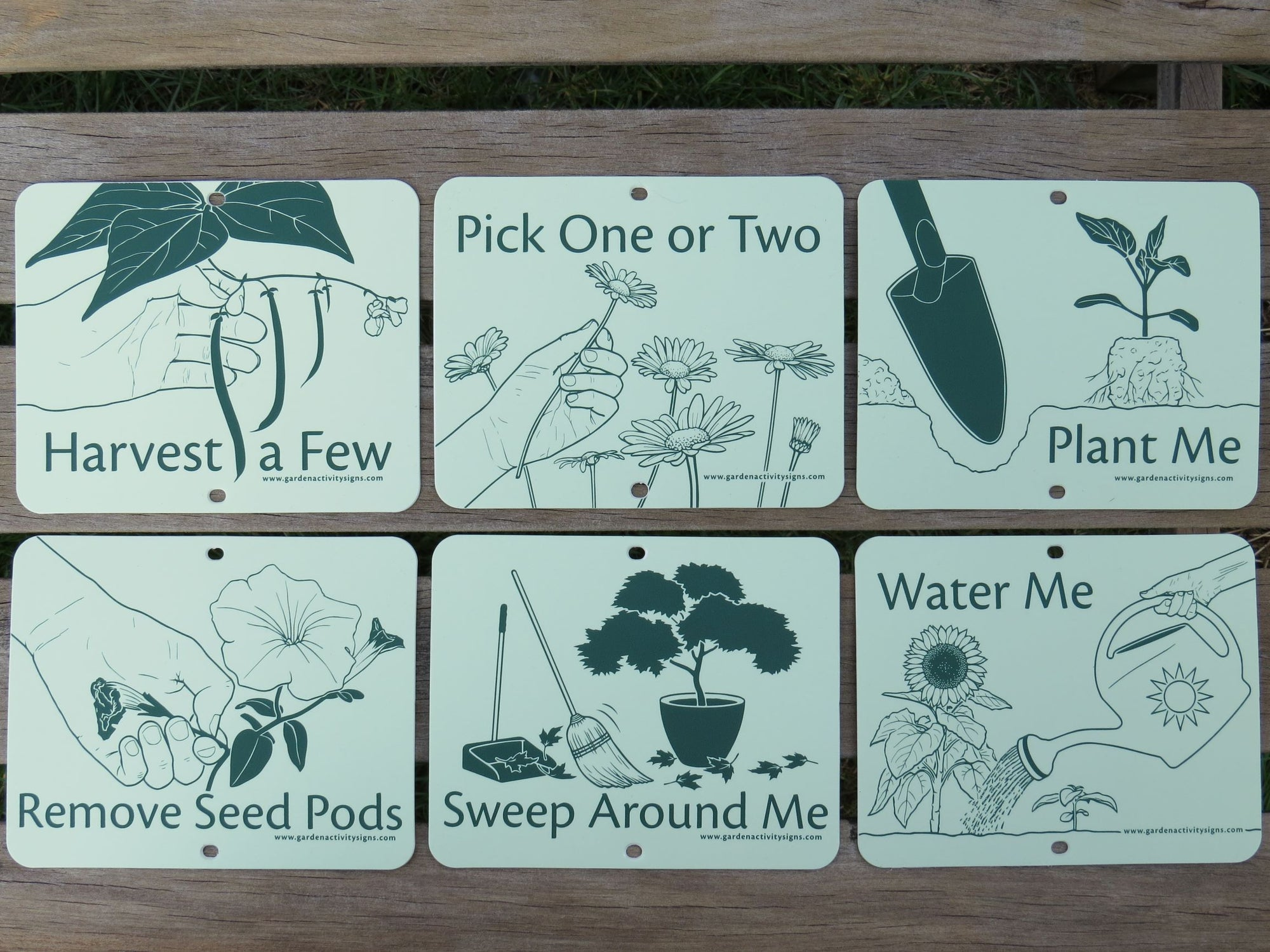 Illustrated garden signs that invite hands-on gardening. Can be attached to bamboo stakes, fences, etc. Includes: harvest a few, pick one or two, plant me, remove seed pods, sweep around me, and water me. For horticultural therapy and school gardens