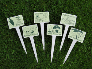 6 Plantable Gardening Signs with Stakes
