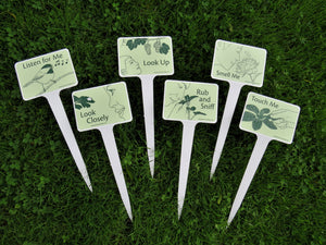 6 Plantable Sensory Garden Signs with Stakes