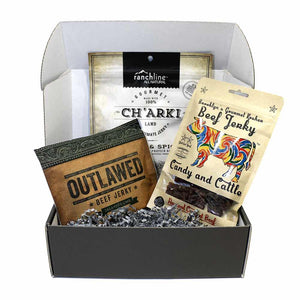 JerkyGent Beef Jerky Subscription Box with Outlawed, Candy and Cattle, and Charki Jerky