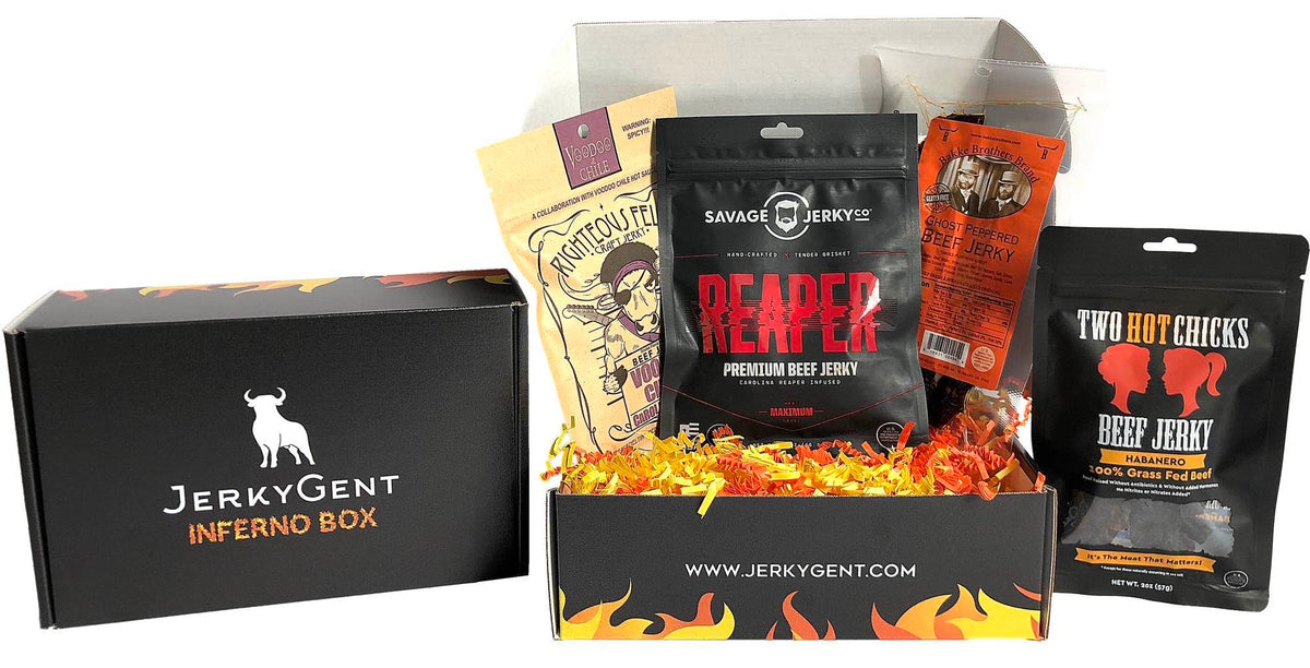 JerkyGent Inferno Box - Try the hottest jerky flavors, featuring carolina reaper jerky