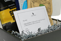 JerkyGent beef jerky gift box includes a personalized gift note