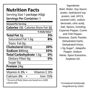 El Norteno Beef Jerky Nutrition Facts