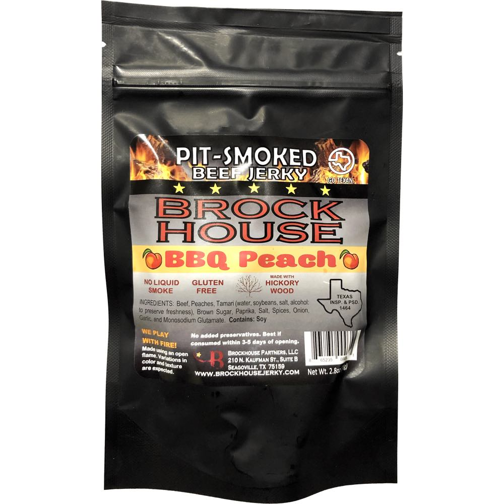 Brock House BBQ Peach smoked peaches beef jerky front