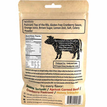 Candy and Cattle Cranberry Pastrami Gourmet Beef Jerky Back of Package