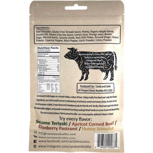 Candy and Cattle Sesame Teriyaki Flavored Craft Beef Jerky Nutrition Label