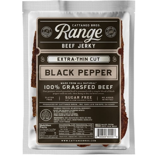 Cattaneo Brothers Beef Jerky Range Grass Fed Black Pepper
