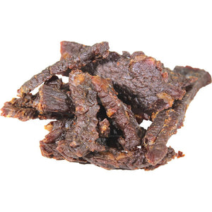 Chudabeef close up shot of Garliyaki beef jerky - premium jerky strips
