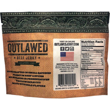 Outlawed Jalepeno Lime Beef Jerky Back of Package